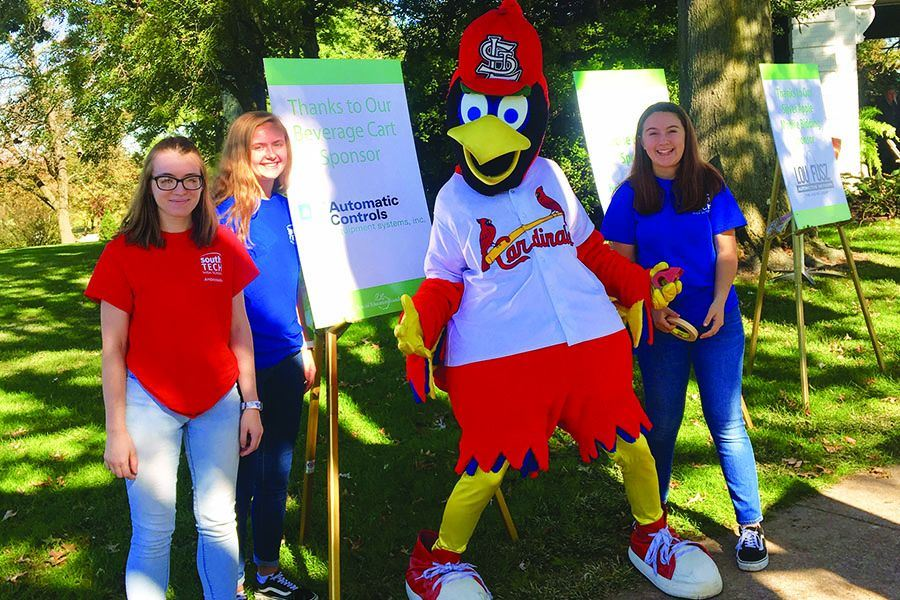Students in the Graphic Design program with Fred Bird