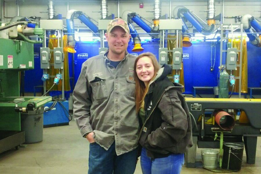Lily Bedwell with Welding Instructor Adam Holt